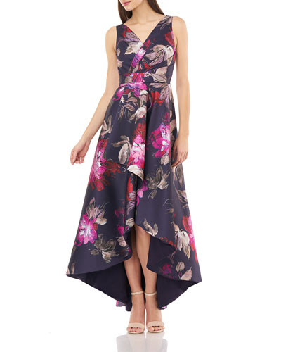 Floral Printed Sleeveless High-Low Wrap Dress