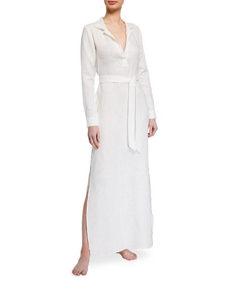 Pour Les Femmes Long Linen Lounge Shirt Dress