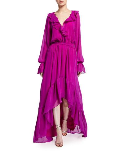 Tina Ruffled High-Low Long-Sleeve Dress