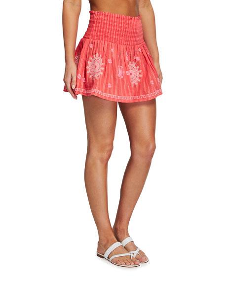 Ramy Brook Judas Smocked Cotton Mini Skirt