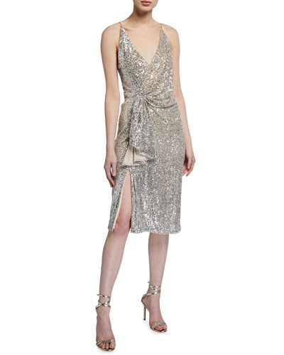 Draped Sequin Spaghetti-Strap Dress w/ Gathered Side