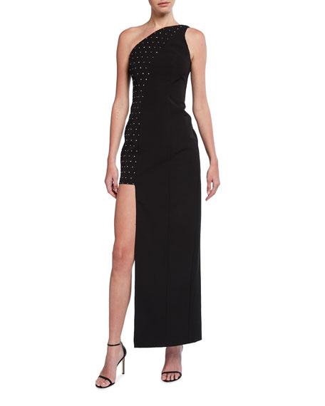Aidan by Aidan Mattox Asymmetrical One-Shoulder Embellished Crepe Gown