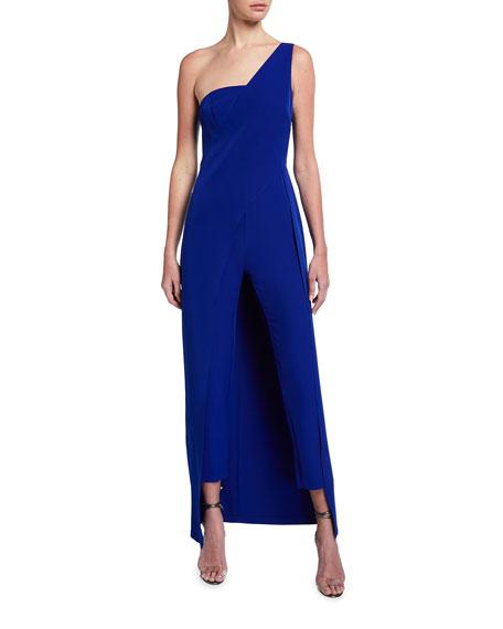 Aidan by Aidan Mattox Asymmetrical One-Shoulder Crepe Jumpsuit w/ Overlay Skirt