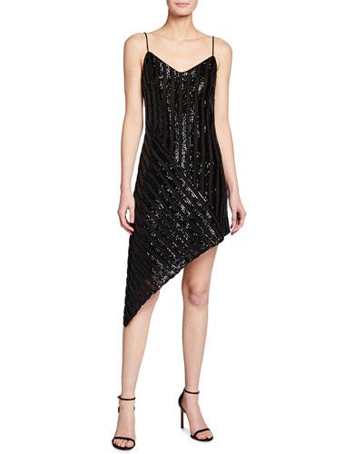 Sequin Stripe Asymmetric Slip Dress