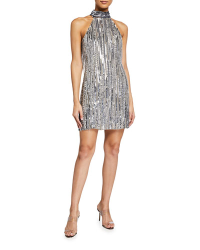 Beaded Fringe Halter-Neck Flapper Dress