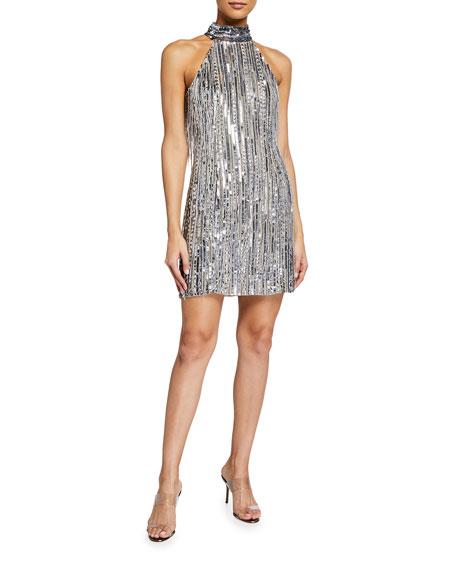 One33 Social Beaded Fringe Halter-Neck Flapper Dress
