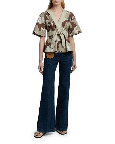 Camo-Print Kimono Shirt
