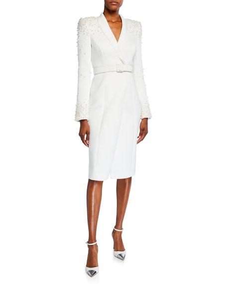 Badgley Mischka Collection Embellished Long-Sleeve Scuba Coat Dress