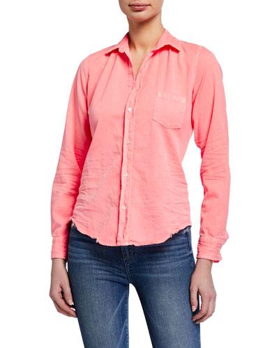 Blue White Checks Long Sleeve Button Front Shirt P Press Medium J