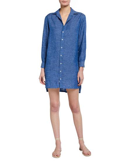 Frank & Eileen  Hunter Long-Sleeve Linen Shirtdress