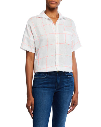Rose Short-Sleeve Button-Down Linen Shirt
