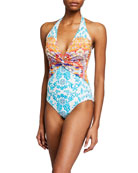 Johnny Was Ellyo Twisted Halter One-Piece Swimsuit