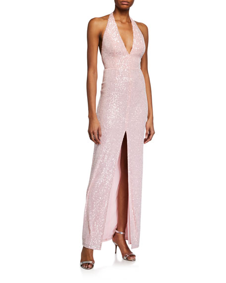 Jay Godfrey Valentina Sequin Halter Gown w/ Front Slit