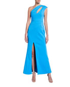 Aidan Mattox One-Shoulder Crepe Gown with Front Slit