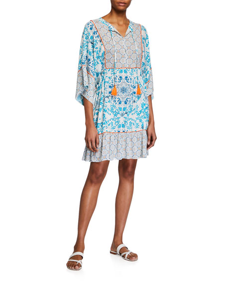Johnny Was Plus Plus Size Ellyo Multi-Pattern Coverup Tunic Dress