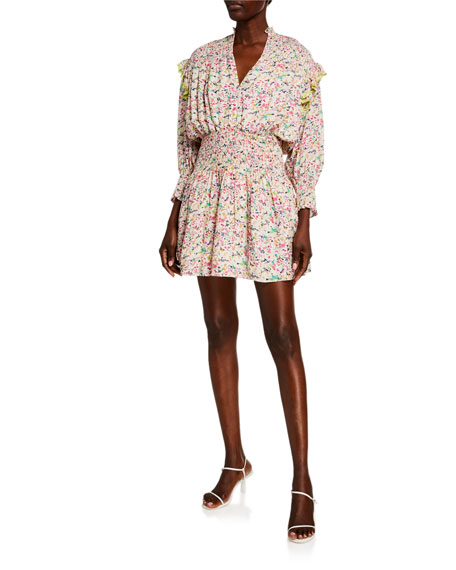 Tanya Taylor Imogen Floral Smocked Long-Sleeve Dress