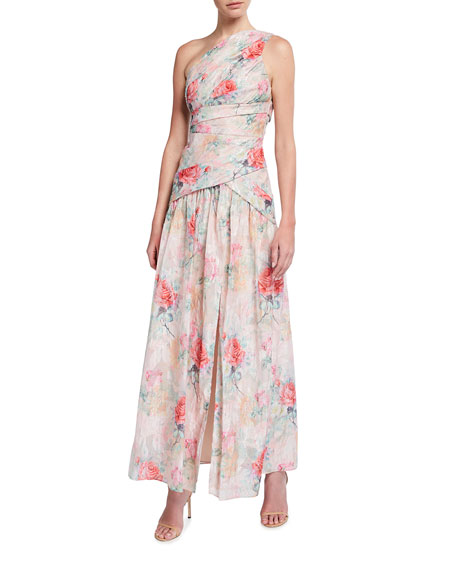 Aidan Mattox One-Shoulder Rose Jacquard Front Slit Gown