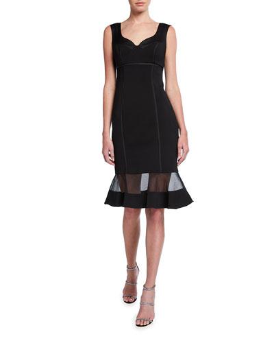 Sleeveless Flounce-Hem Twill Dress