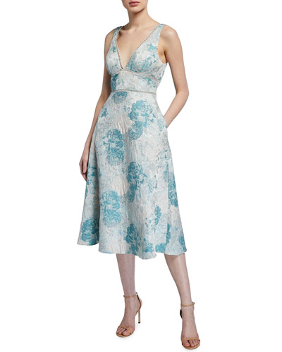 Sleeveless Floral Jacquard Fit-&-Flare Dress