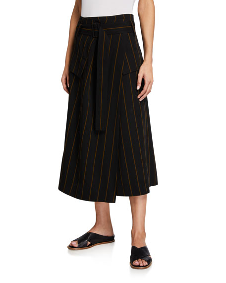Vince Belted Striped Utility Skirt