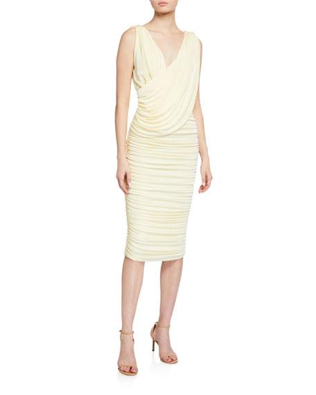 Misha Laney V-Neck Shirred Jersey Dress