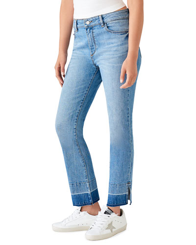 Mara Ankle High-Rise Straight-Leg Jeans with Released Hem