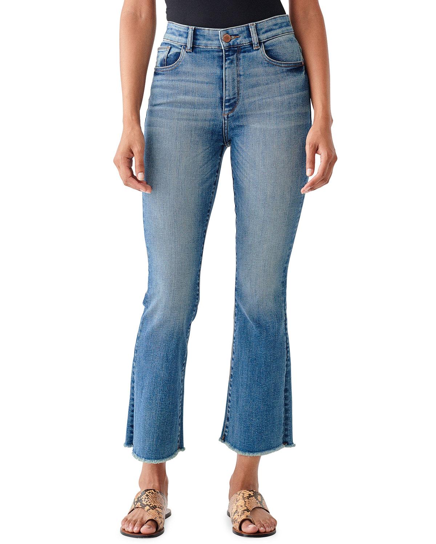 Bridget Cropped High-Rise Boot-Cut Jeans