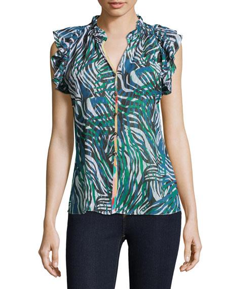 Robert Graham Thelma Zebra Print Sleeveless Frill Shirt