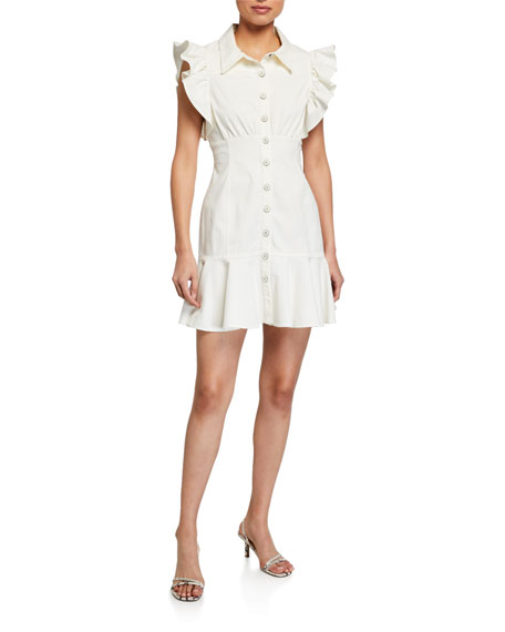 cinq a sept Yvette Frilled Cap-Sleeve Shirtdress