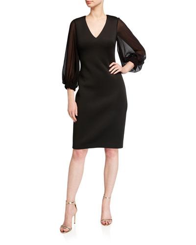 V-Neck Puff-Sleeve Scuba Dress