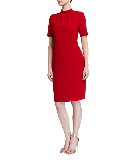Badgley Mischka Collection Mock-Neck Sheath Dress with Buttons