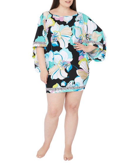 Trina Turk Plus Size Sintra Flora Printed Tunic Coverup