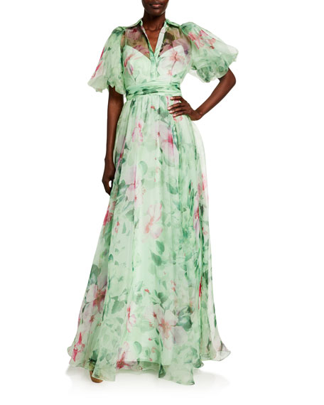 Badgley Mischka Collection Hibiscus Printed Organza Puff-Sleeve Gown