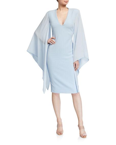 Badgley Mischka Collection Georgette Sleeve Crepe Sheath Dress