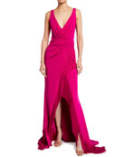 Badgley Mischka Collection V-Neck Sleeveless High-Low Fringe Gown