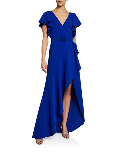 V-Neck Flutter-Sleeve High-Low Ruffle Gown