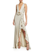Badgley Mischka Collection Sequin V-Neck Sleeveless Side-Ruffle