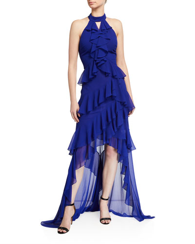 Tiered Ruffle High-Low Halter Gown