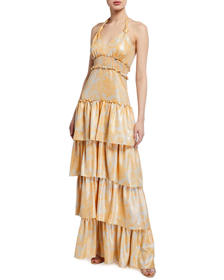 Likely Ivy Tiered Halter Gown
