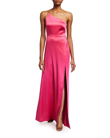 Likely Cardallino One-Shoulder Satin Gown