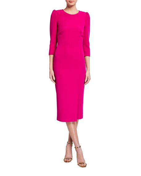 Badgley Mischka Collection Front-Slit Sheath Midi Dress