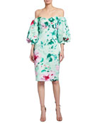 Badgley Mischka Collection Floral Print Off-the-Shoulder