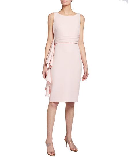 Badgley Mischka Collection Side Ruffle Sleeveless Sheath Dress