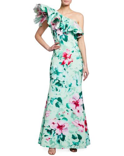 Asymmetric Ruffle Floral Print Gown