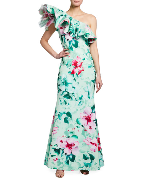 Badgley Mischka Collection Asymmetric Ruffle Floral Print Gown