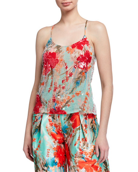 Badgley Mischka Collection Sequin Floral Racerback Tank