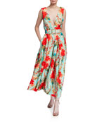 Badgley Mischka Collection Floral Mikado Sleeveless Belted Dress