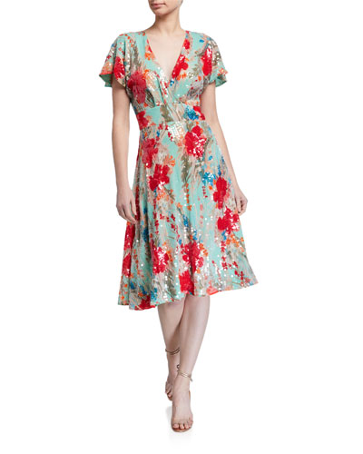 Sequin Floral Print Short-Sleeve Dress w/ Swing Skirt
