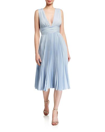 Deep V-Neck Sleeveless Pleated Midi Dress