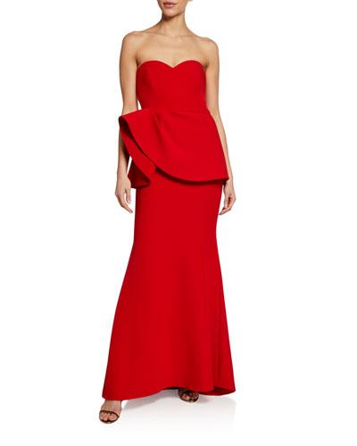 Asymmetric Peplum Crepe Bustier Gown
